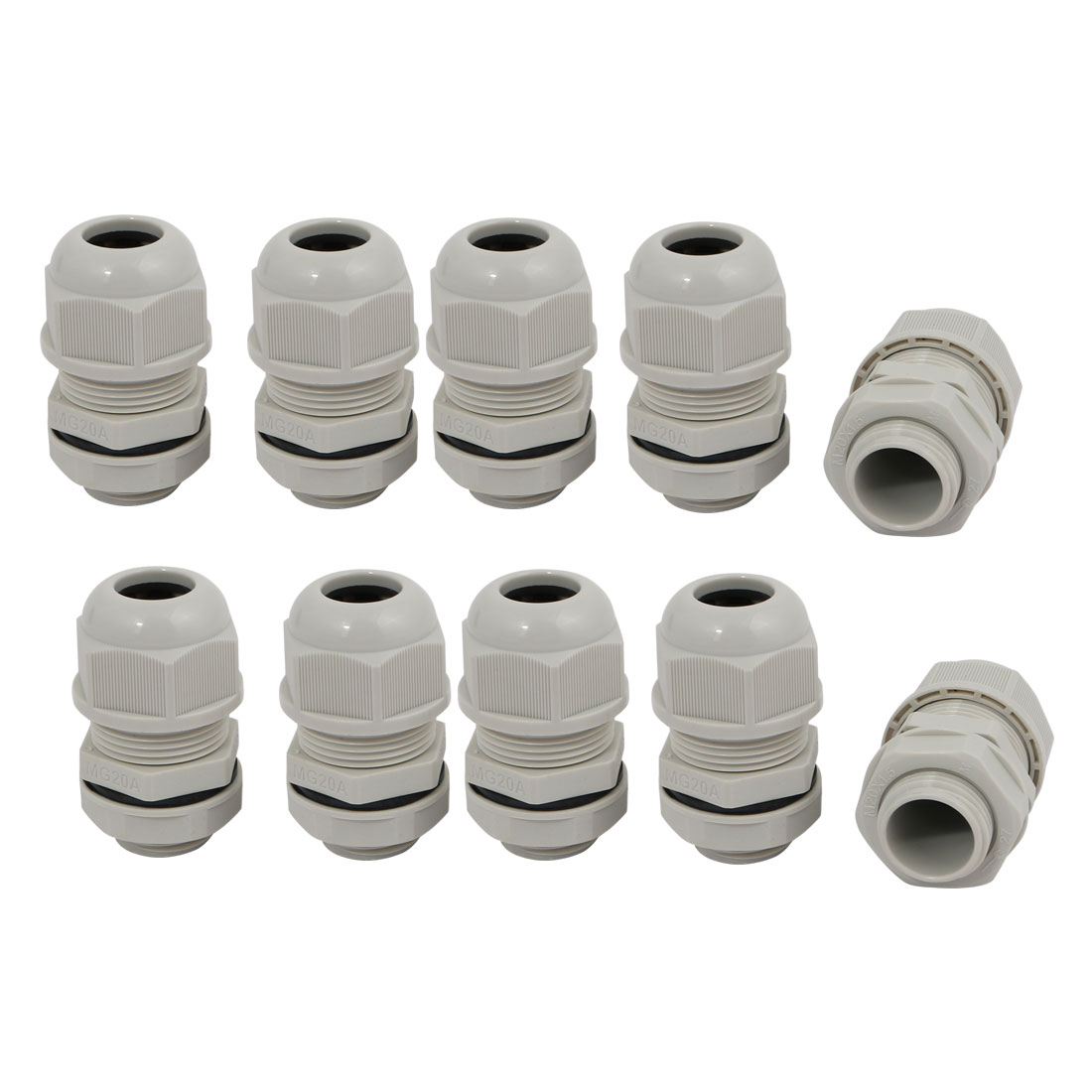 10pcs M20 x 1.5mm Nylon 4 Holes Cable Gland Connector Joint Gray MA20-H4-02