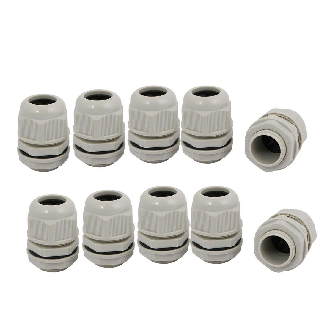10 Pcs M25 x 1.5mm Nylon 4 Holes Cable Gland Connector Joint Gray MA25-H4-05