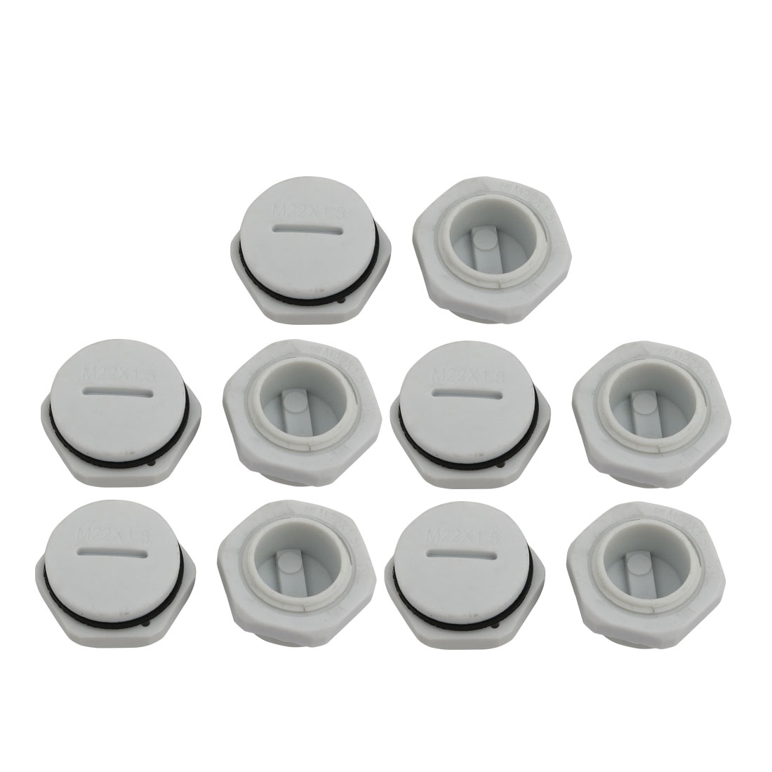 10pcs GLW-M22 Nylon Threaded Cable Gland Cap Round Screw-in Cover Gray w Washer