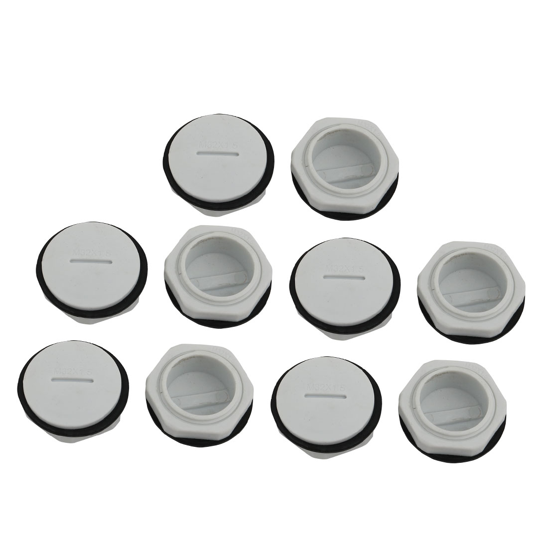 10pcs GLW-M32 Nylon Threaded Cable Gland Cap Round Screw-in Cover Gray w Washer