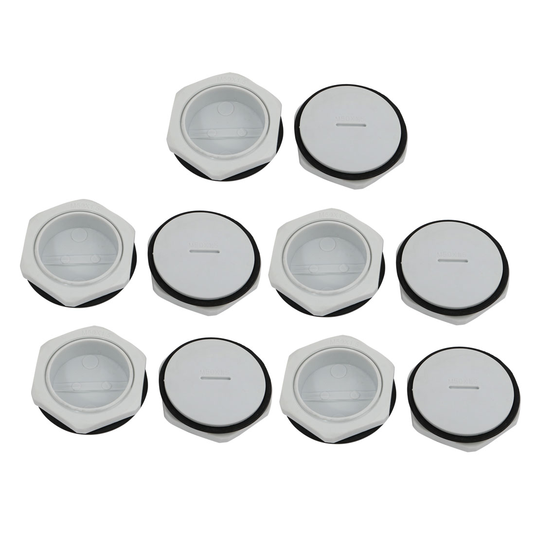 10pcs GLW-M50 Nylon Threaded Cable Gland Cap Round Screw-in Cover Gray w Washer