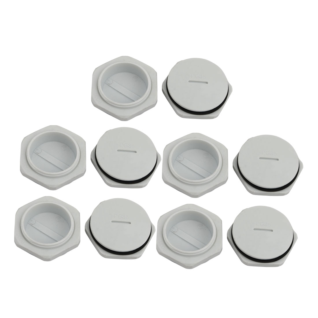 10pcs GLW-PG36 Nylon Threaded Cable Gland Cap Round Screw-in Cover Gray w Washer