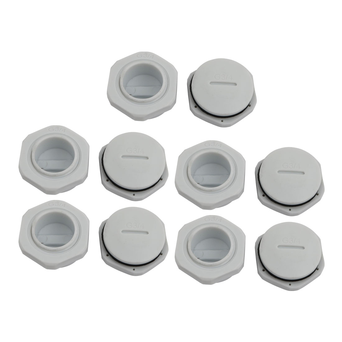 10pcs GLW-G 3/4 Nylon Threaded Cable Gland Cap Round Cover Gray w Washer