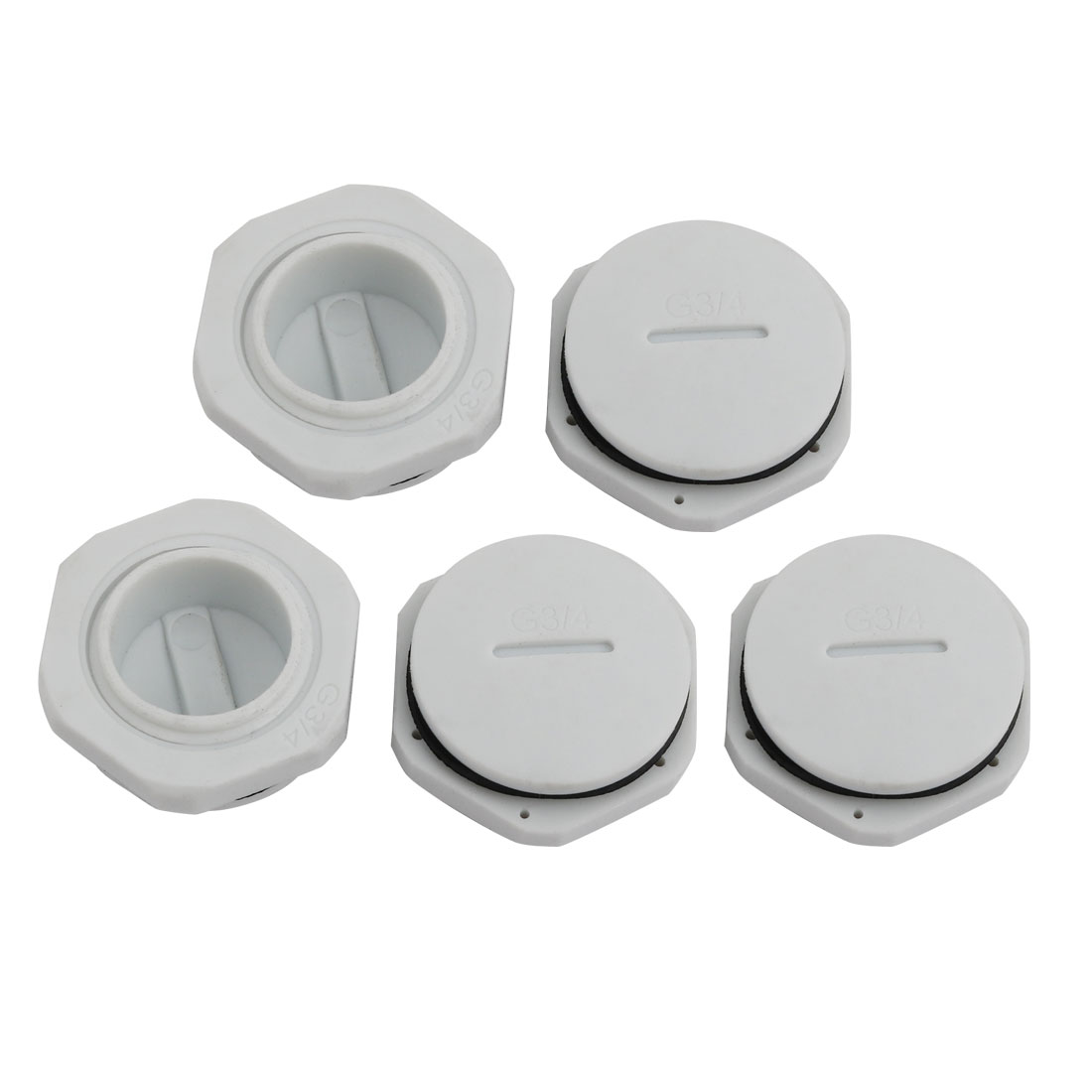 5pcs GLW-G 3/4 Nylon Threaded Cable Gland Cap Round Screw-in Cover Gray w Washer