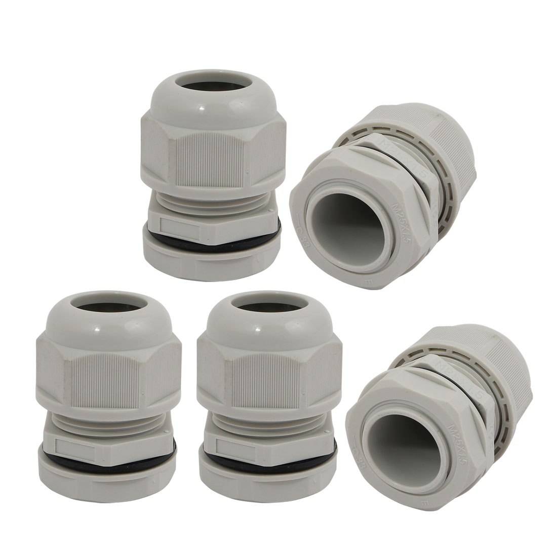 5pcs M25 x 1.5mm Nylon 6 Holes Cable Gland Connector Joint Gray MA25-H6-05