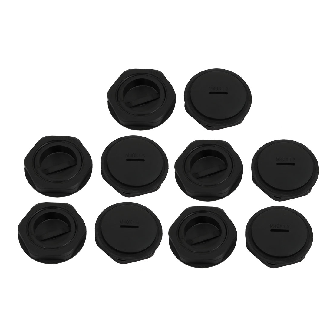 10pcs GLW-M40 Nylon Threaded Cable Gland Cap Round Screw-in Cover Black w Washer