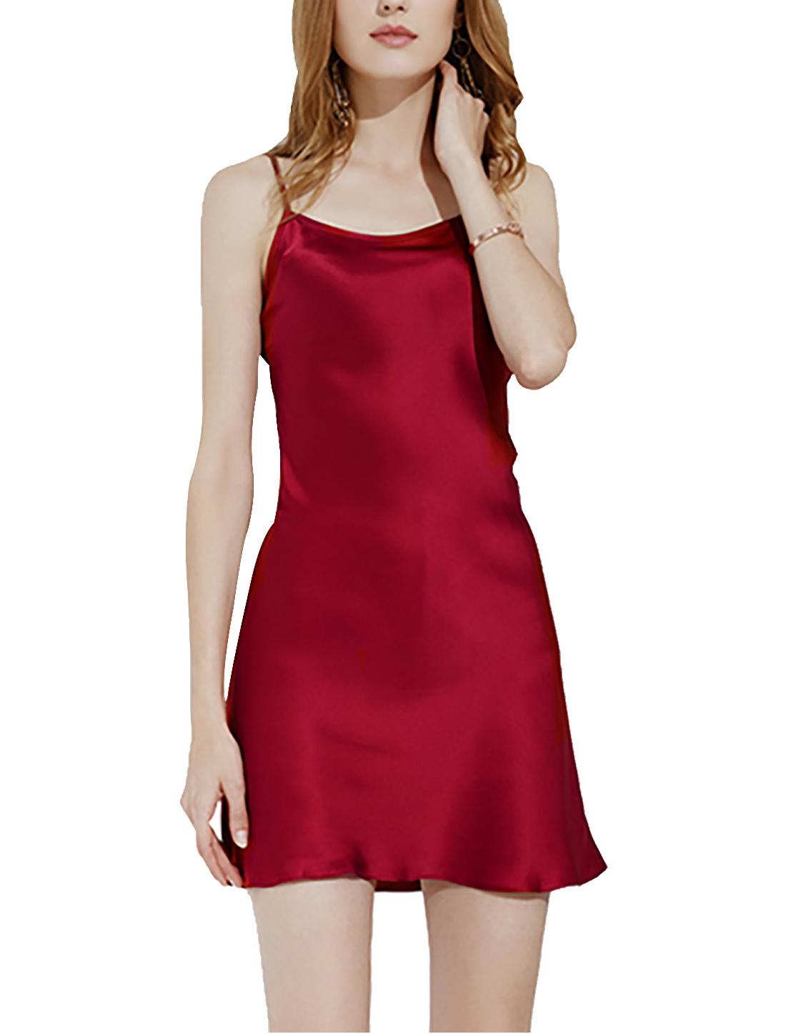 Women Silk Plus Size Lotus Leaf Hem Basic Slip Dress Nightgown Burgundy XXL