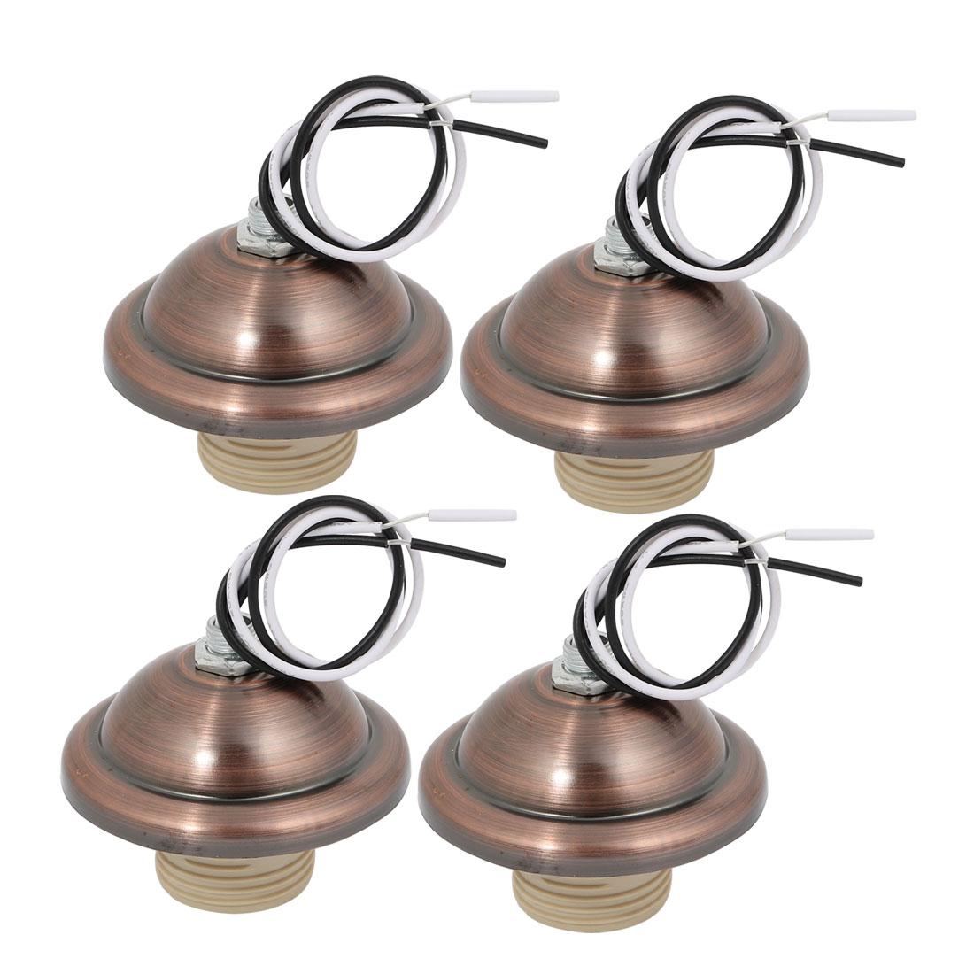 4pcs E27 Screw Bulb Base Light Socket Retro Pendant Lamp Holder Bronze Tone