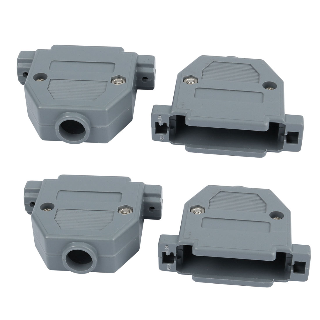 4pcs DB25 Port D-Sub Connector Kit Cover House Assembly Shell Plastic Hood Gray