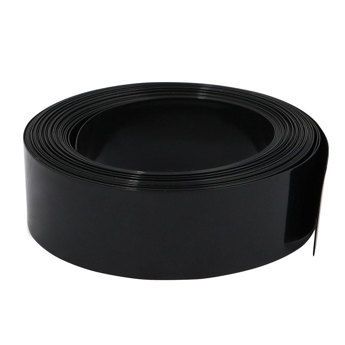 23mm Flat Width 6M Length PVC Heat Shrinkable Tube Black for AA Battery