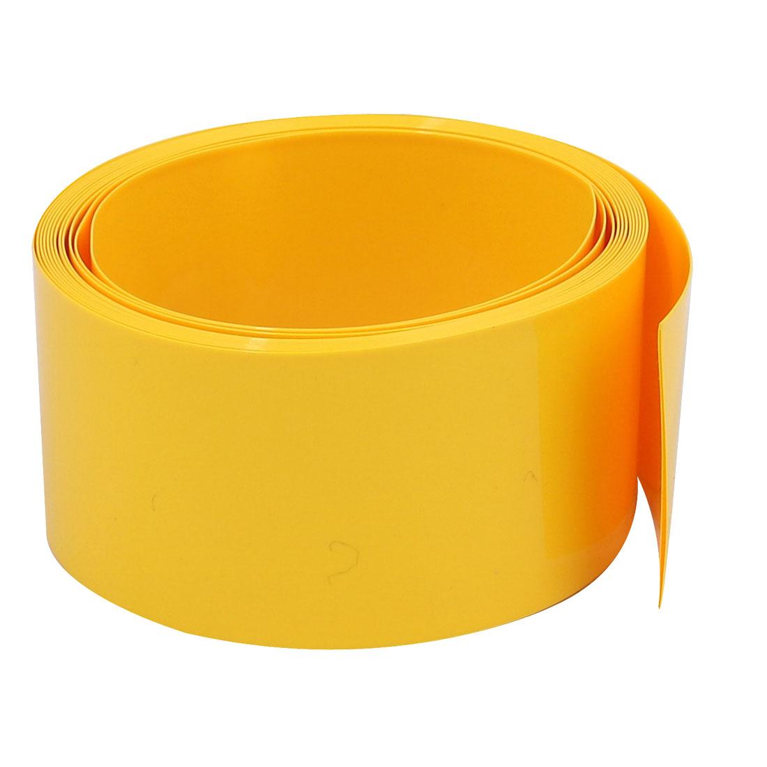 29.5mm Flat Width 2M Long PVC Heat Shrinkable Tube Yellow for 18650 Battery Pack