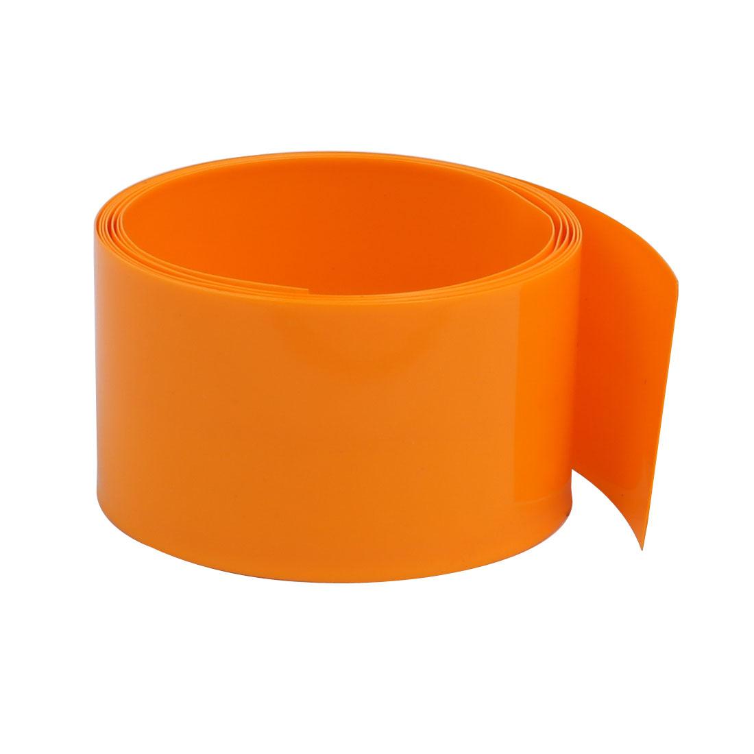 29.5mm Flat Width 1 Meter Long PVC Heat Shrinkable Tube Orange for 18650 Battery