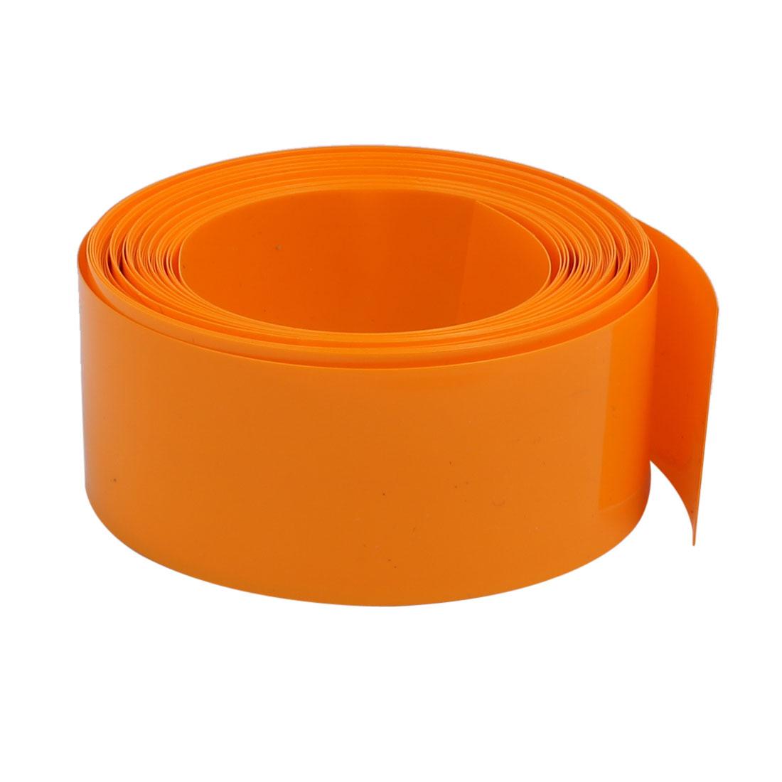 29.5mm Flat Width 6 Meter Long PVC Heat Shrinkable Tube Orange for 18650 Battery