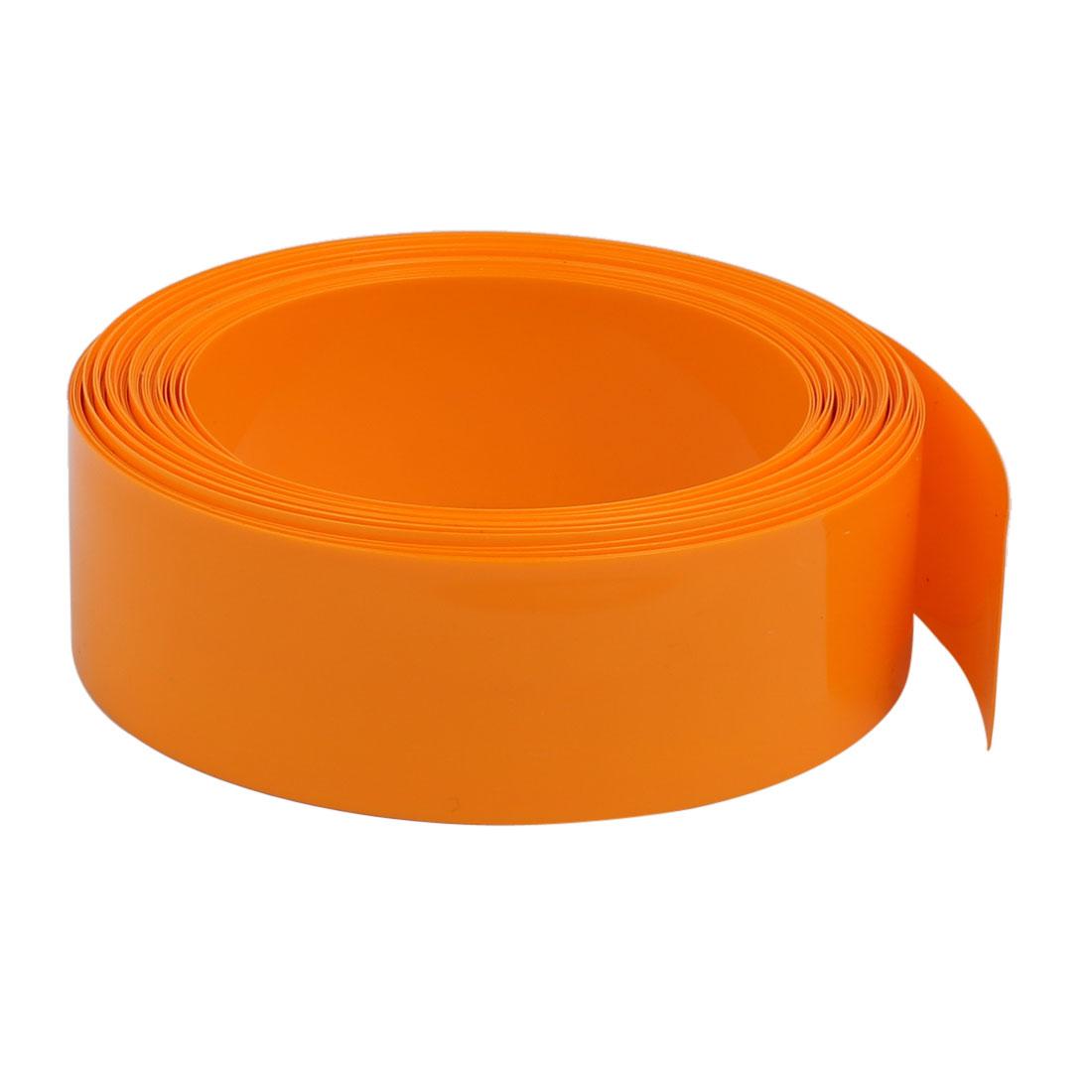 29.5mm Flat Width 10Meter Long PVC Heat Shrinkable Tube Orange for 18650 Battery