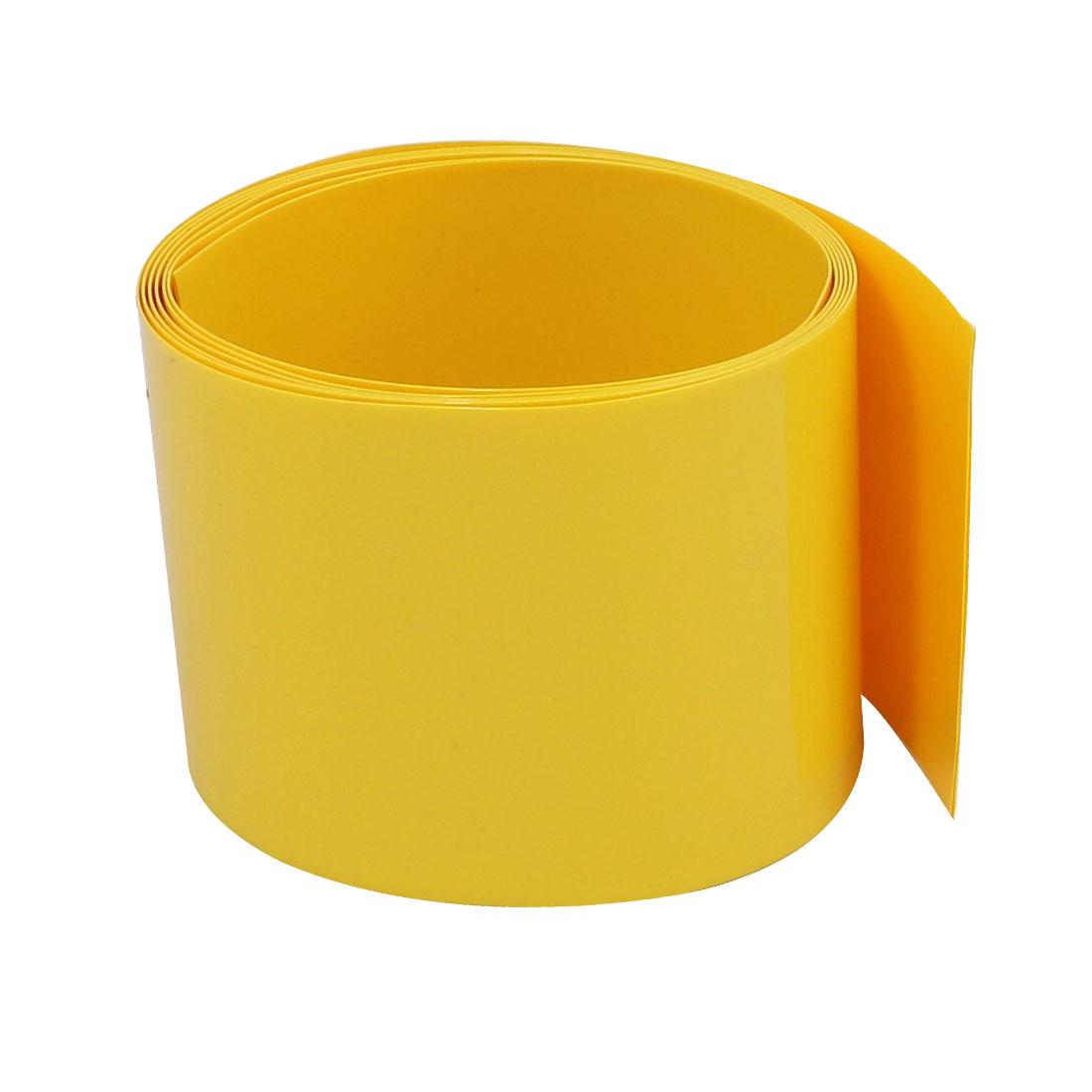 36mm Flat Width 1M Long PVC Heat Shrinkable Tube Yellow for 22650 Battery Pack