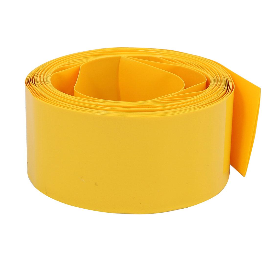 36mm Flat Width 5M Long PVC Heat Shrinkable Tube Yellow for 22650 Battery Pack