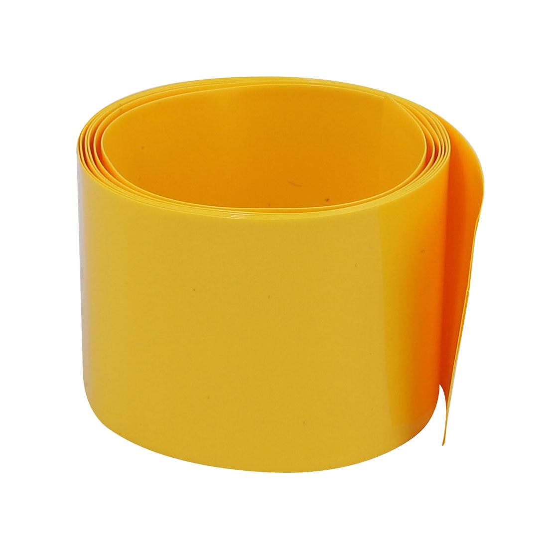 40mm Flat Width 1M Long PVC Heat Shrinkable Tube Yellow for 9V/AA Battery Pack