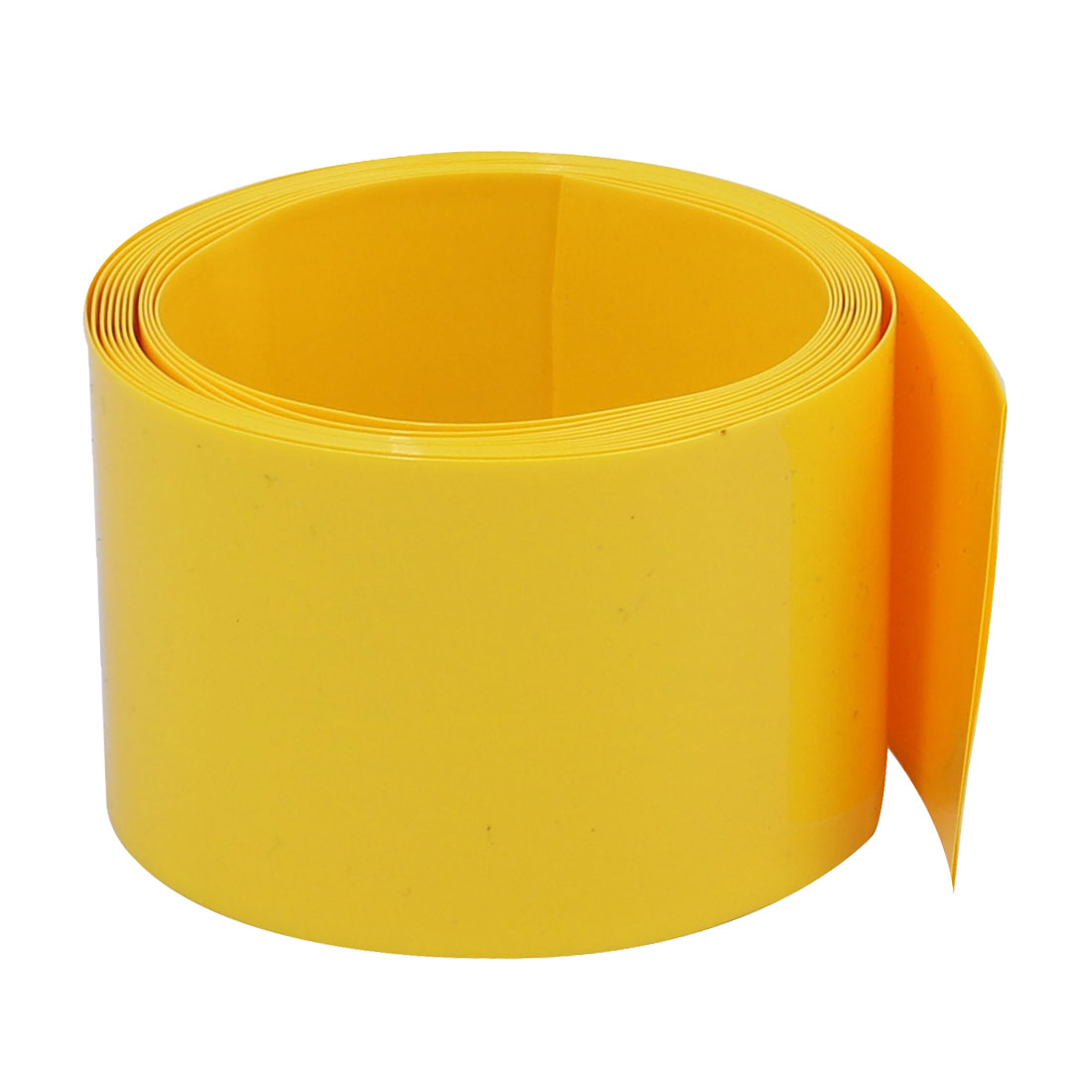 40mm Flat Width 2M Long PVC Heat Shrinkable Tube Yellow for 9V/AA Battery Pack