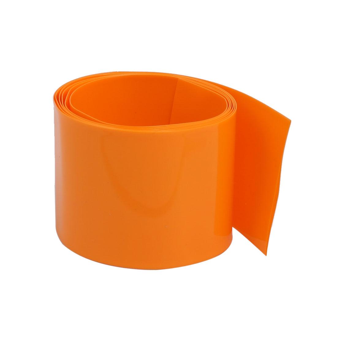 43mm Flat Width 1 Meter Long PVC Heat Shrinkable Tube Orange for 26650 Battery