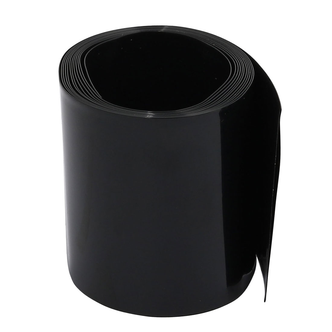 55mm Flat Width 2M Length PVC Heat Shrinkable Tube Black for AAA Batteries