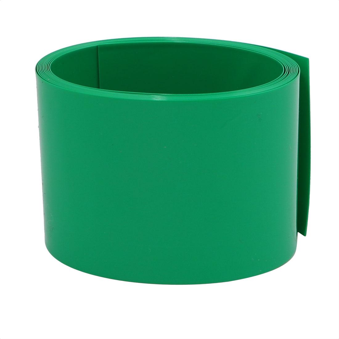 55mm Flat Width 2M Length PVC Heat Shrinkable Tube Green for AAA Batteries
