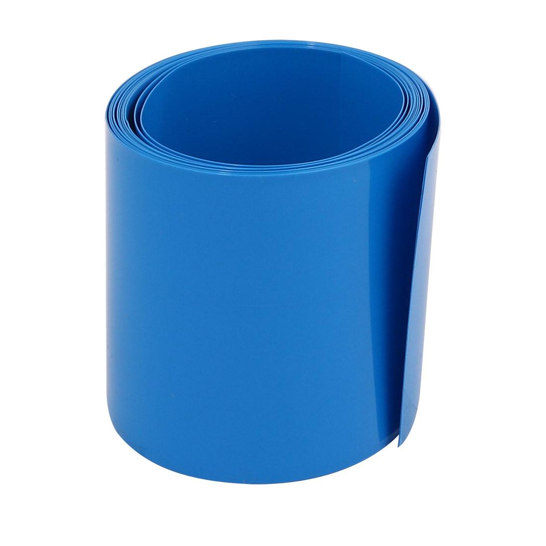 55mm Flat Width 2M Long PVC Heat Shrinkable Tube Blue for AAA Battery Pack