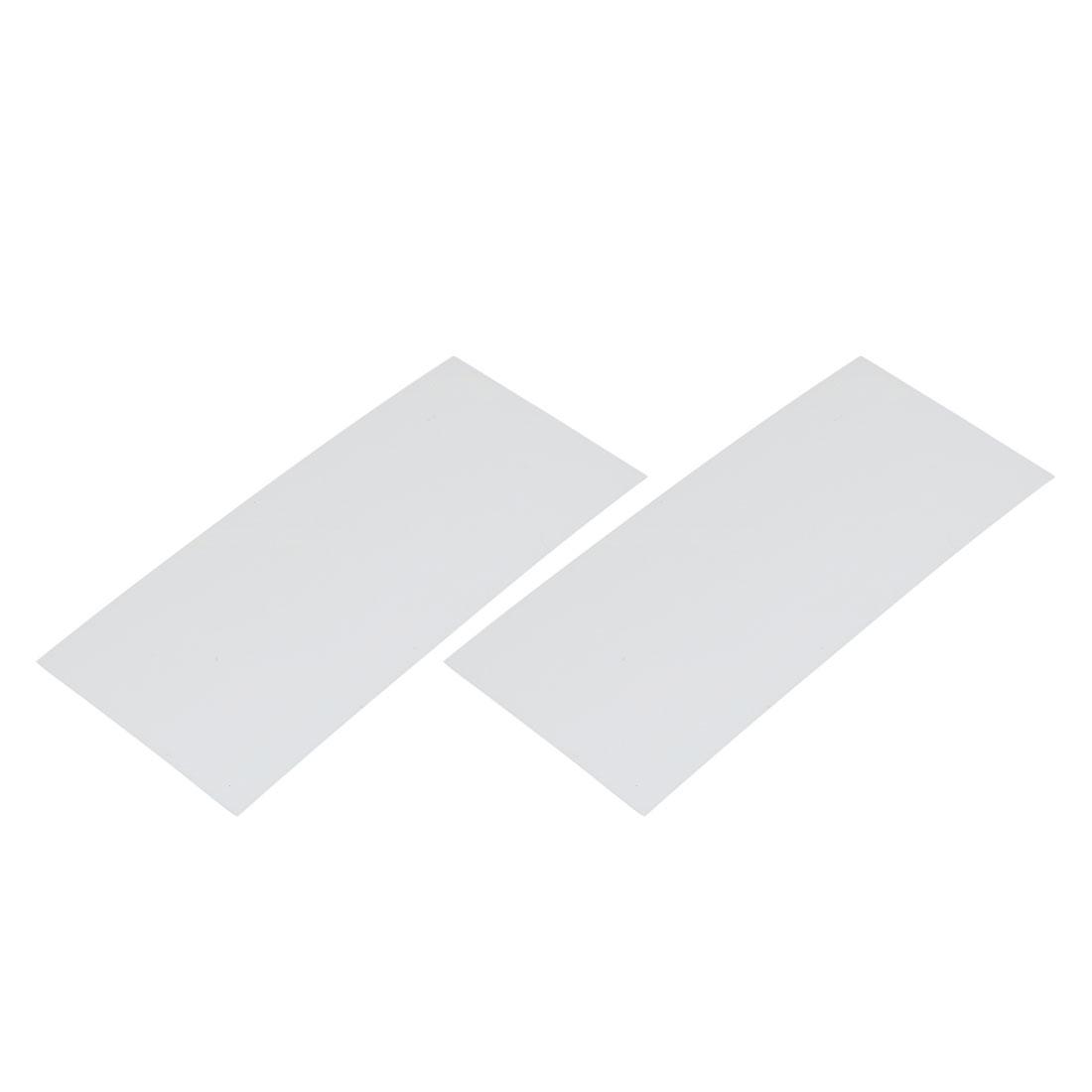 2pcs 23mm Flat Width 53mm Long PVC Heat Shrinkable Tube White for AA Battery