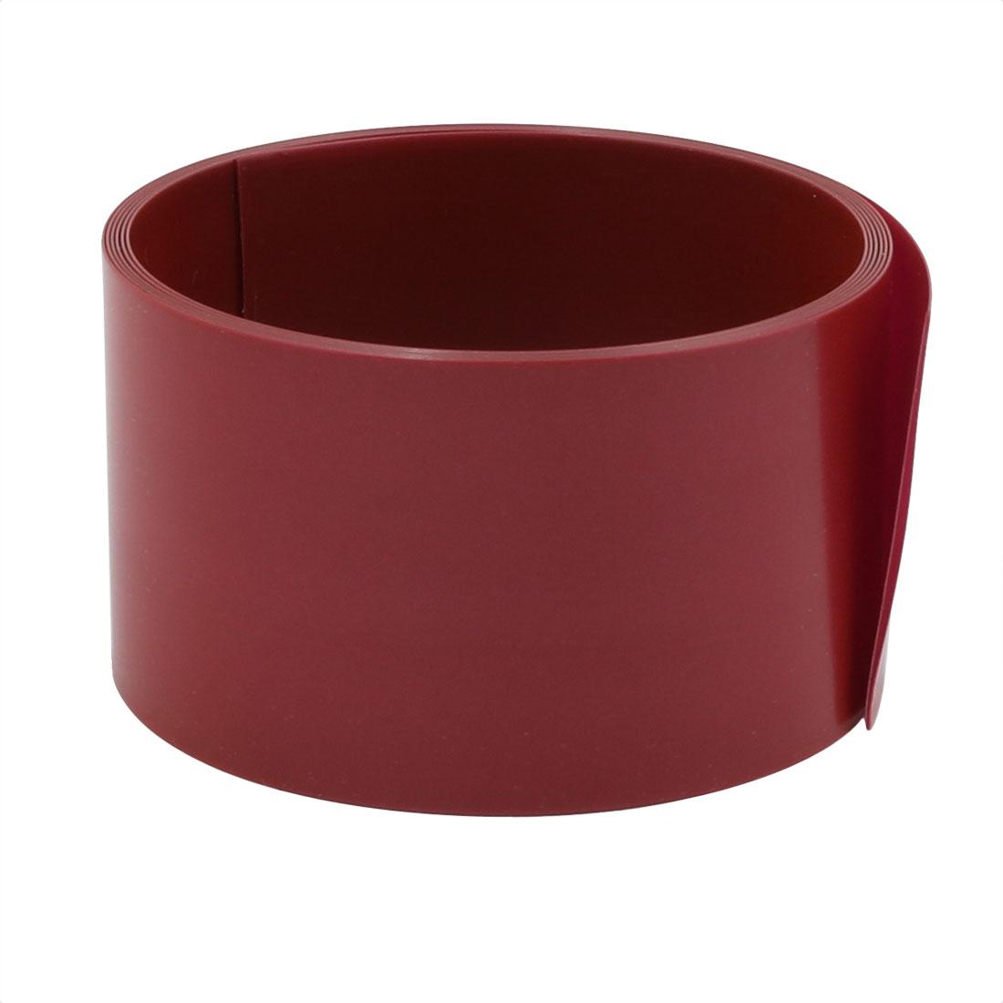 29.5mm Flat Width 1M Long PVC Heat Shrinkable Tube Dark Red for 18650 Battery