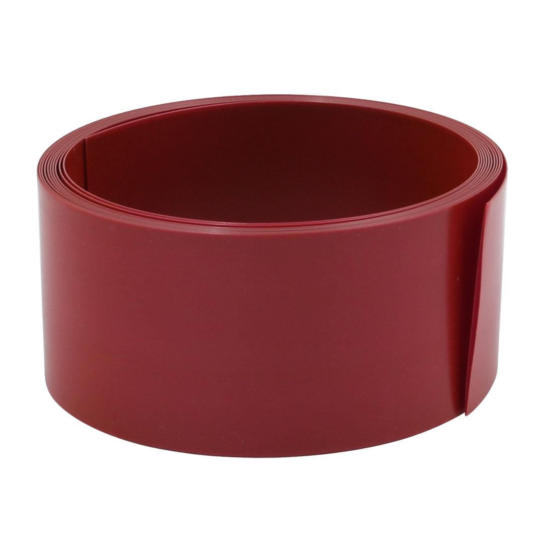 29.5mm Flat Width 2M Long PVC Heat Shrinkable Tube Dark Red for 18650 Battery
