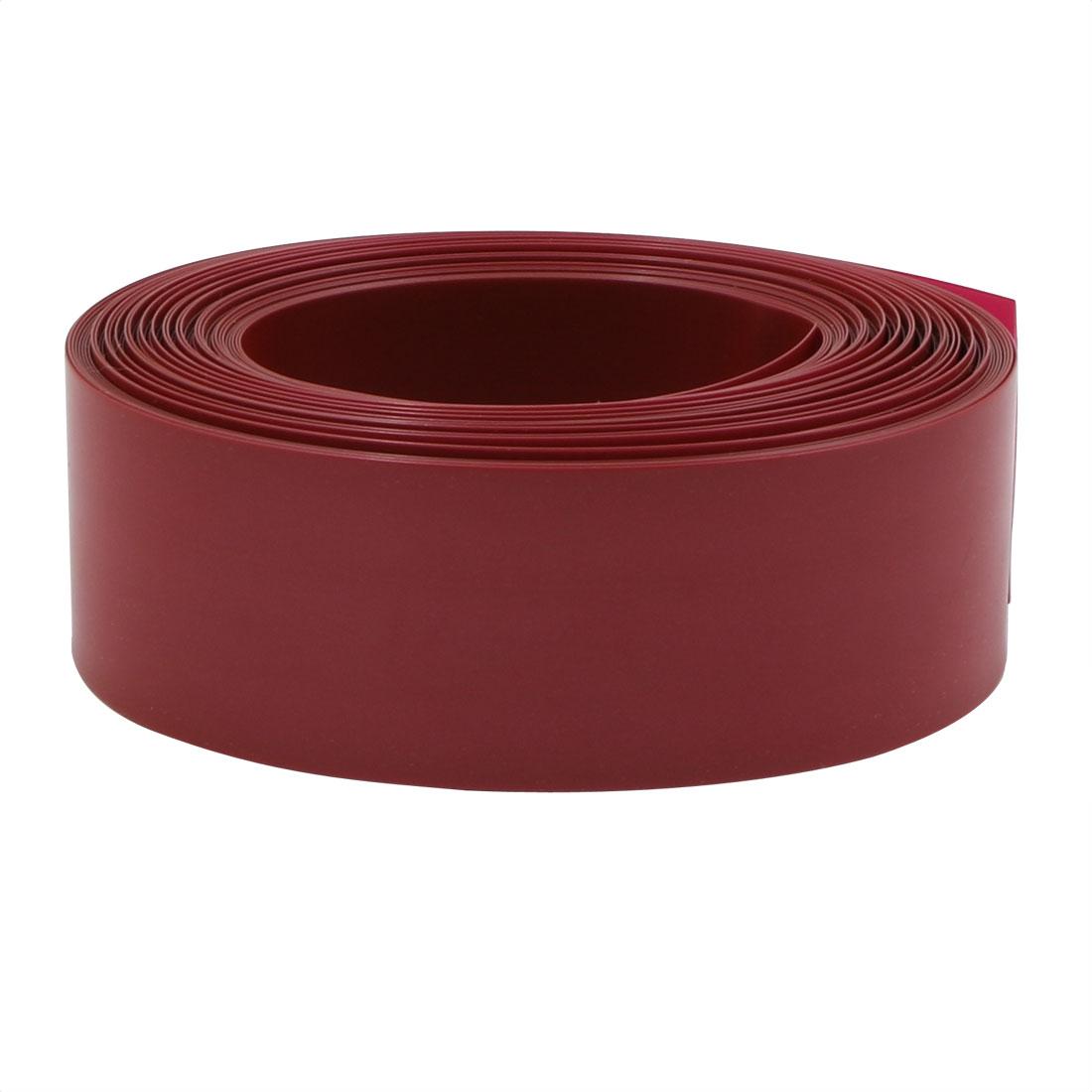 29.5mm Flat Width 10M Long PVC Heat Shrinkable Tube Dark Red for 18650 Battery