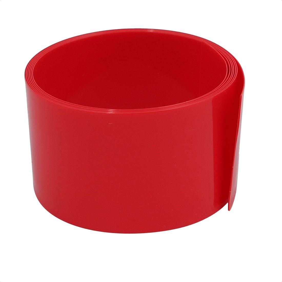 31mm Flat Width 1M Long PVC Heat Shrinkable Tube Red for Battery Pack