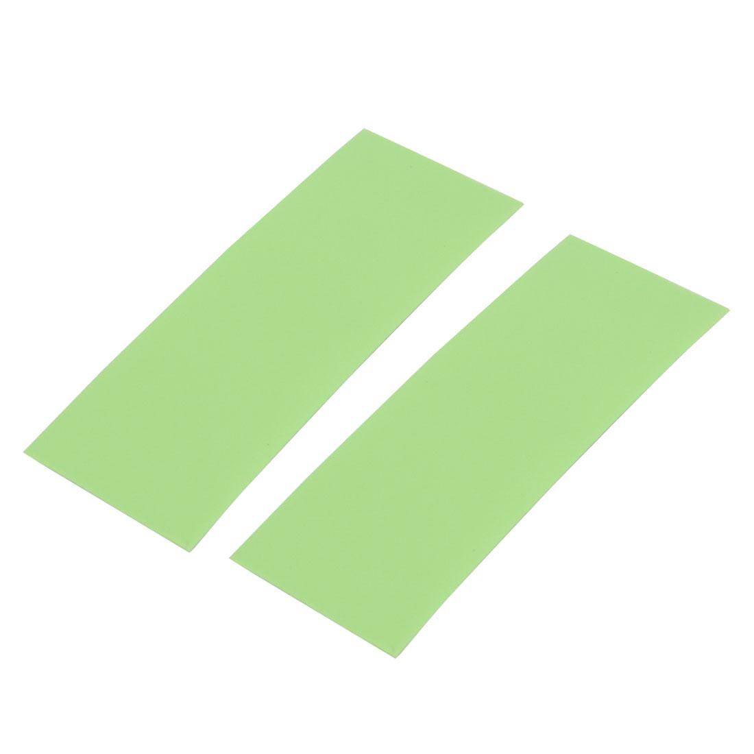 2pcs 17mm Flat Width 46mm Long Heat Shrinkable Tube Light Green for AAA Battery
