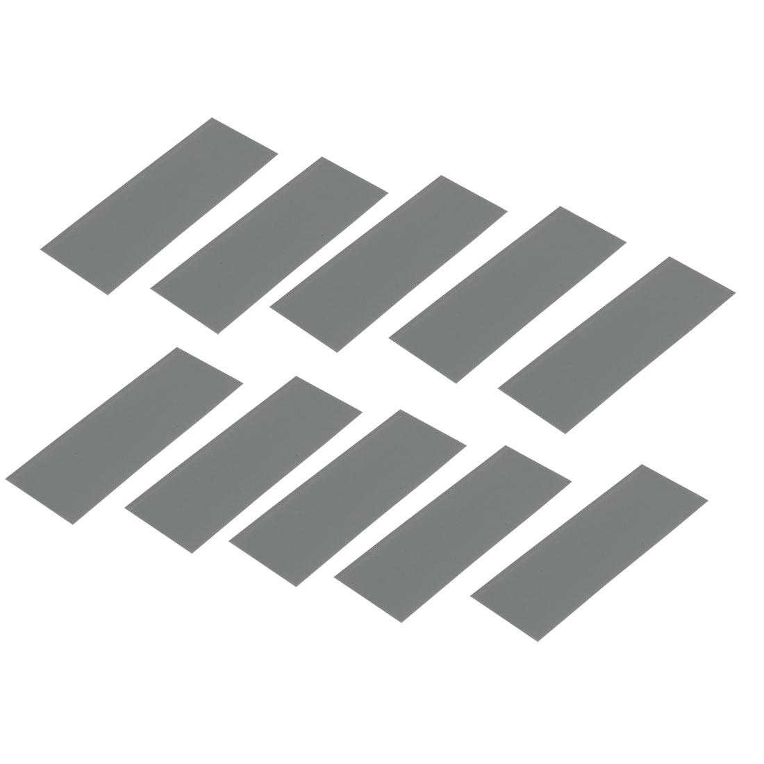 10pcs 17mm Flat Width 46mm Length PVC Heat Shrinkable Tube Gray for AAA Battery