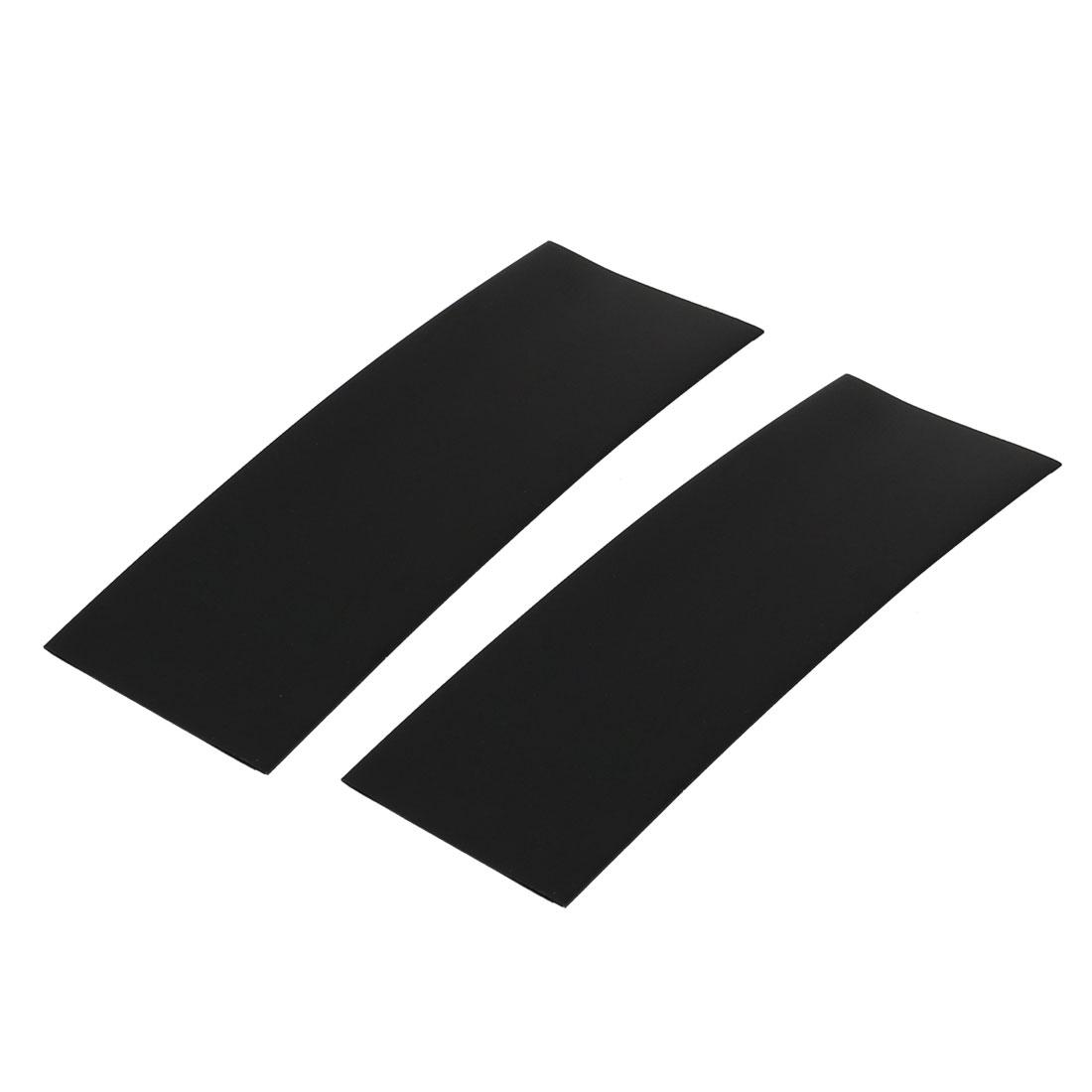 2pcs 17mm Flat Width 46mm Length PVC Heat Shrinkable Tube Black for AAA Battery