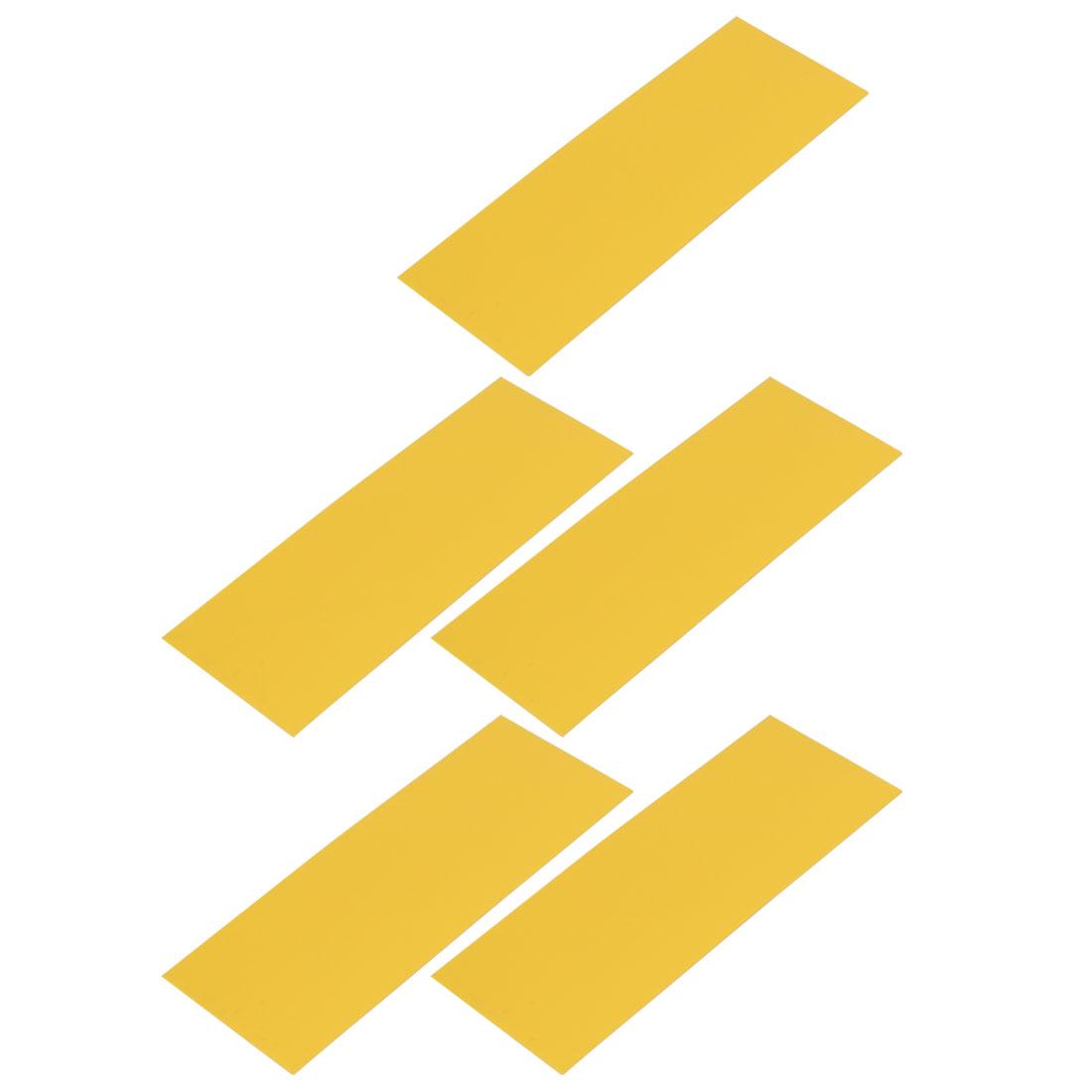5pcs 17mm Flat Width 46mm Long PVC Heat Shrinkable Tube Yellow for AAA Battery