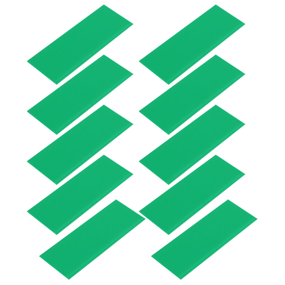 10pcs 17mm Flat Width 46mm Length PVC Heat Shrinkable Tube Green for AAA Battery