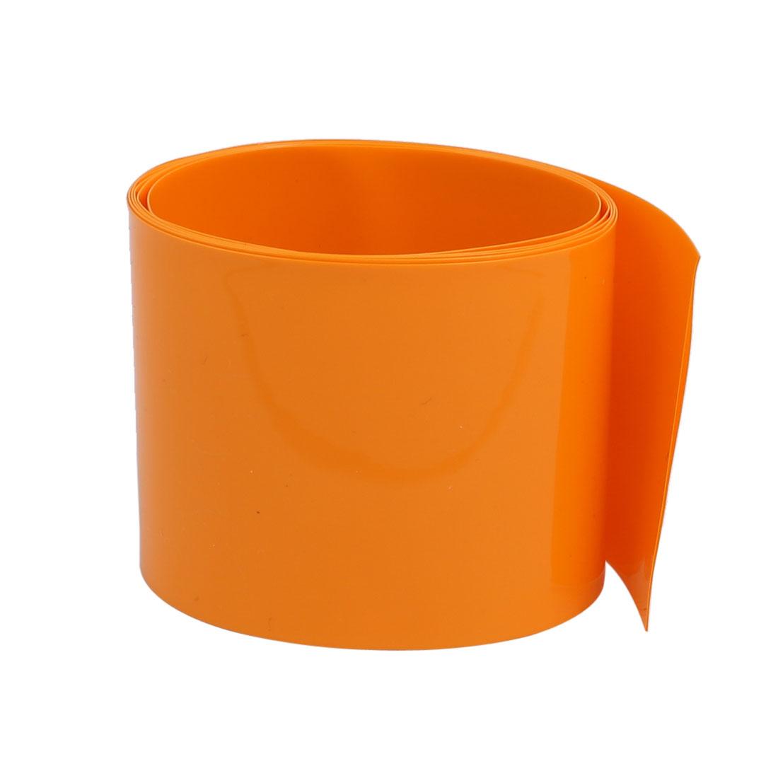 55mm Flat Width 1 Meter Long PVC Heat Shrinkable Tube Orange for AAA Battery
