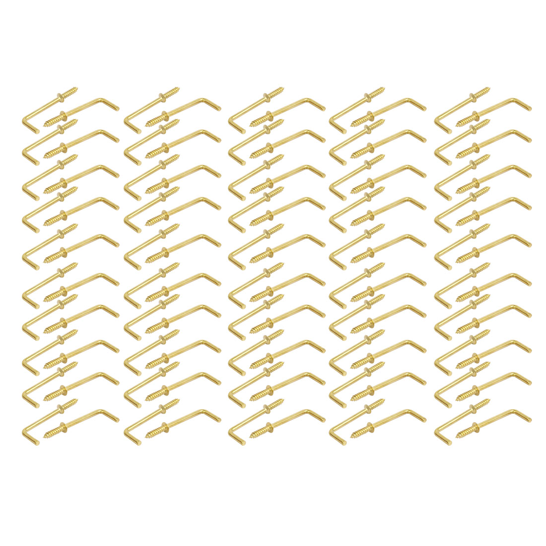 46mm Length Carbon Steel Brass Plated L-Shape Self Tapping Screws 100pcs
