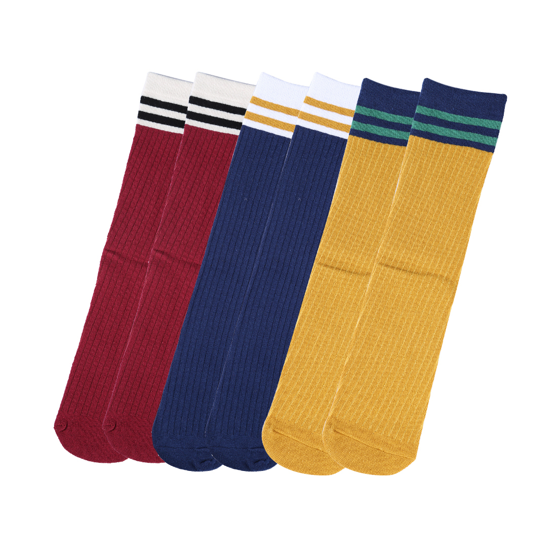 Women Stripes Color Blocks Crew Socks 6 Pairs 7-12 Navy Blue+Curry+Burgundy
