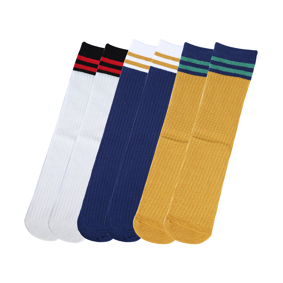 Women Stripes Color Blocks Cotton Crew Socks 6 Pairs 7-12 Navy Blue+Curry+White