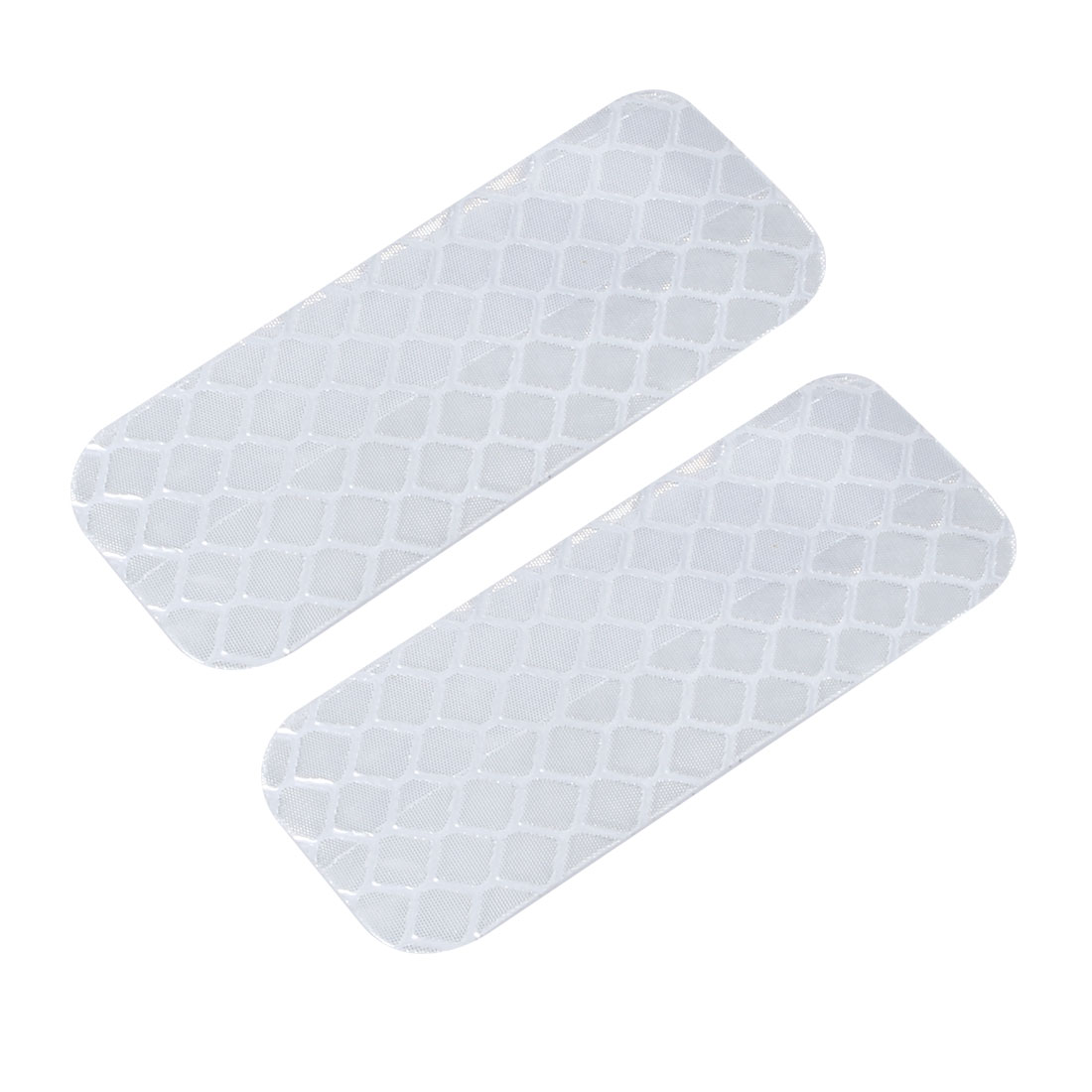 2pcs Honeycomb Reflective Warning Tape Film Sticker White 20mm Width 50mm Length