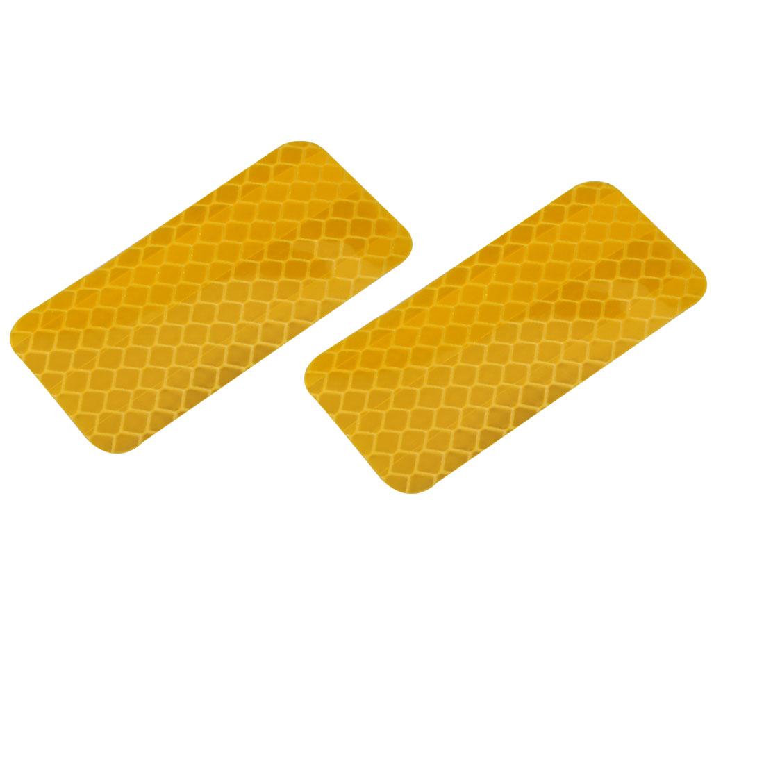 2pcs Honeycomb Reflective Warning Tape Film Sticker Yellow 30mm Width 60mm Long
