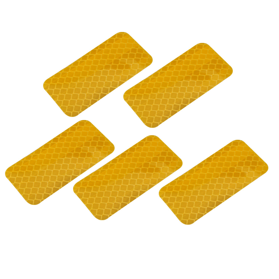5pcs Honeycomb Reflective Warning Tape Film Sticker Yellow 30mm Width 60mm Long