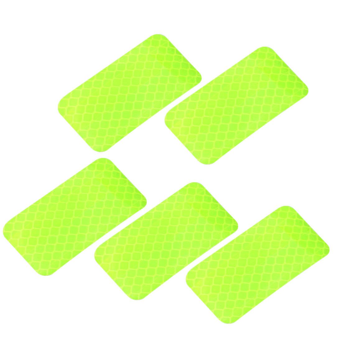 5pcs Honeycomb Reflective Warning Tape Film Sticker Yellow 30mm x 60mm