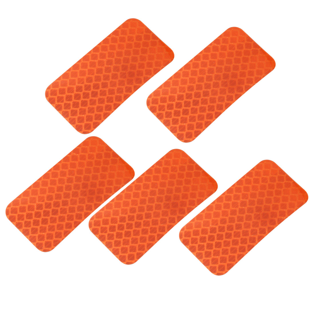 5pcs Honeycomb Reflective Warning Tape Film Sticker Orange 30mm x 60mm
