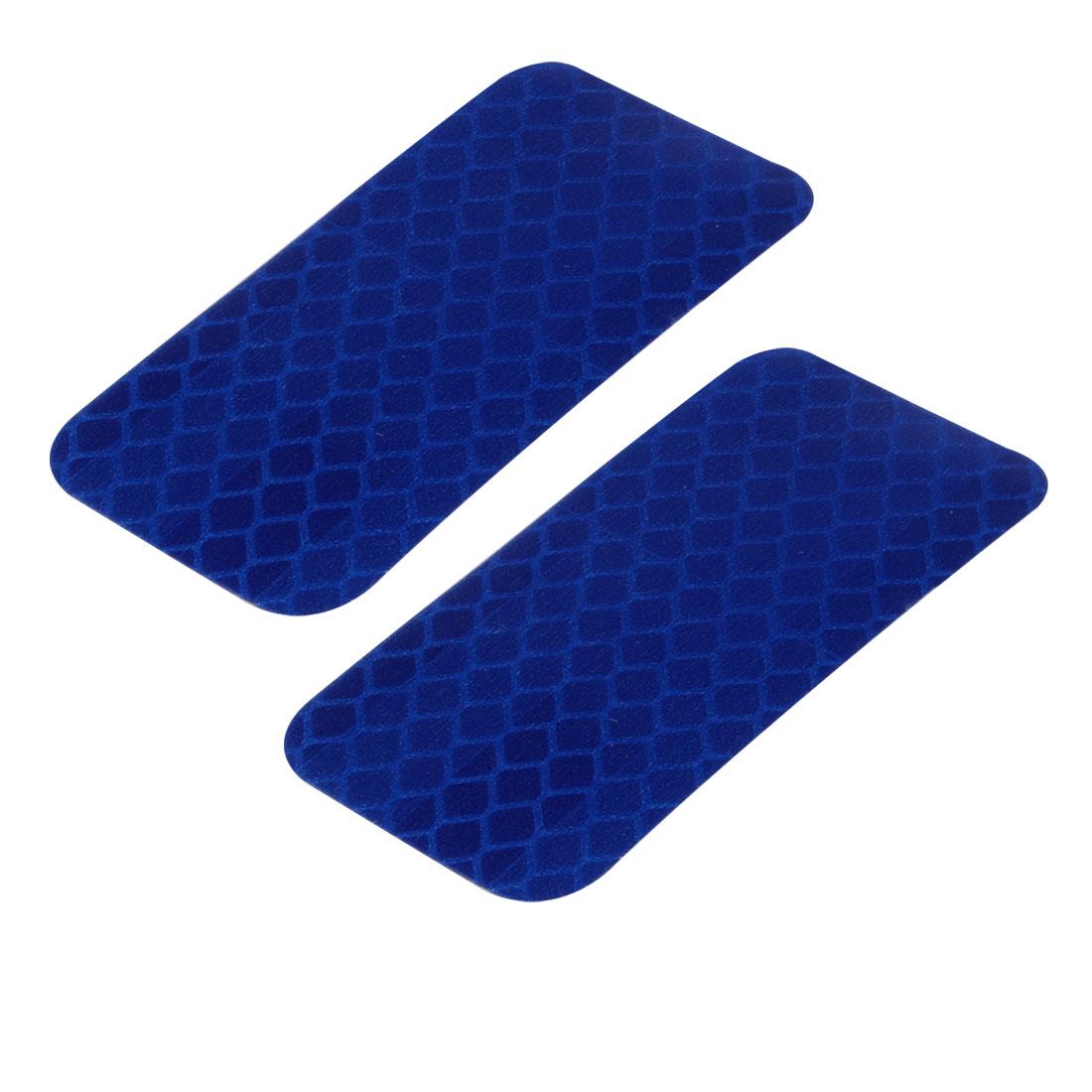 2pcs Honeycomb Reflective Warning Tape Film Sticker Blue 30mm x 60mm