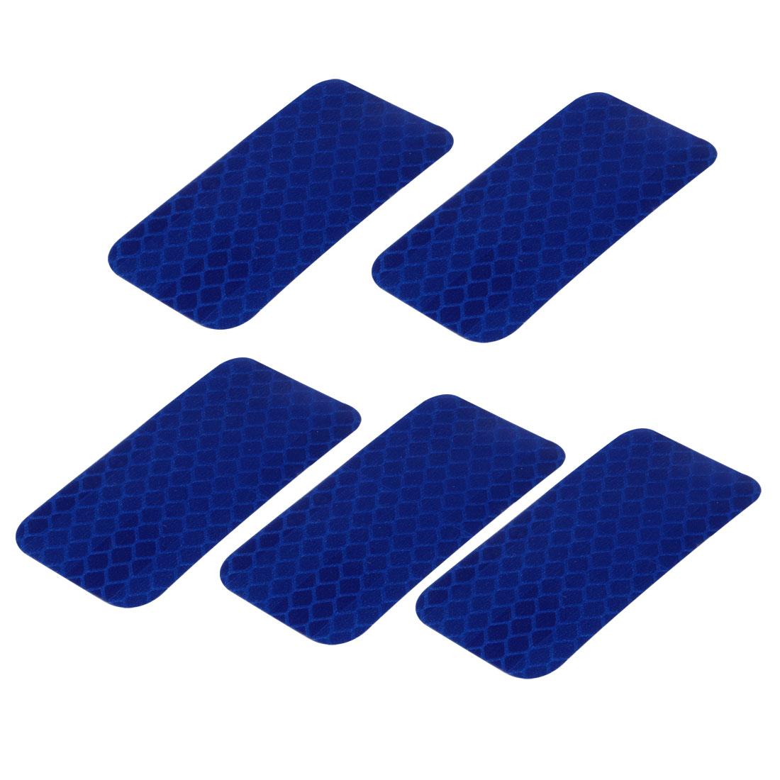 5pcs Honeycomb Reflective Warning Tape Film Sticker Blue 30mm x 60mm
