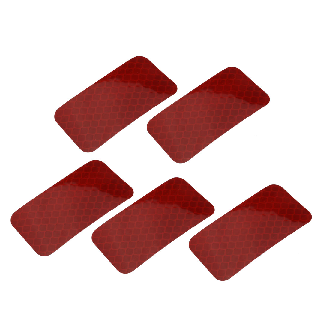 5pcs Honeycomb Reflective Warning Tape Film Sticker Red 30mm x 60mm