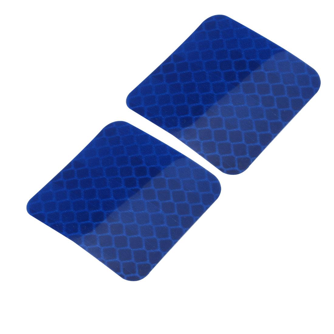 2pcs Honeycomb Reflective Warning Tape Film Sticker Blue 40mm x 40mm