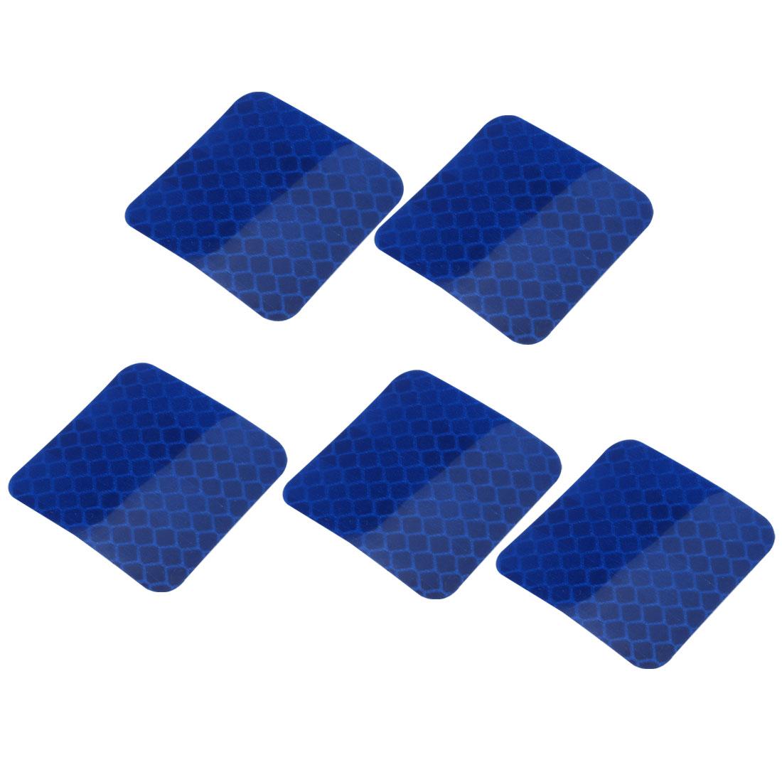 5pcs Honeycomb Reflective Warning Tape Film Sticker Blue 40mm x 40mm